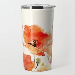 Poppy Flower Meadow- Floral Summer lllustration Travel Mug