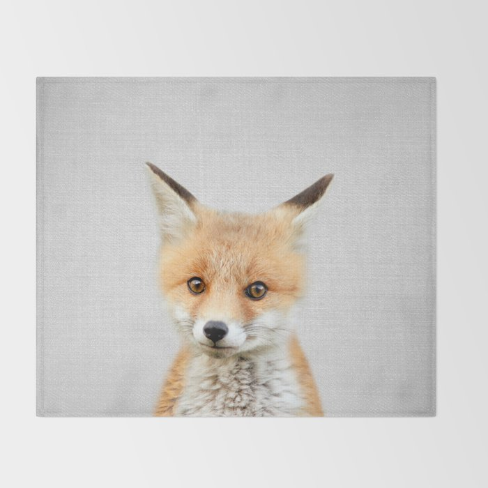 Baby Fox - Colorful Throw Blanket