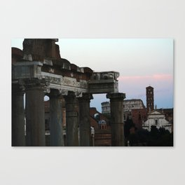 Roman Forum and Colosseum of Rome at Sunset Canvas Print