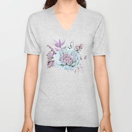 Turquoise and Violet Succulents Unisex V-Neck