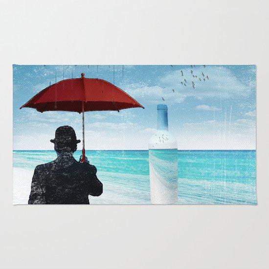 Chaplin at the beach in the rian Rug