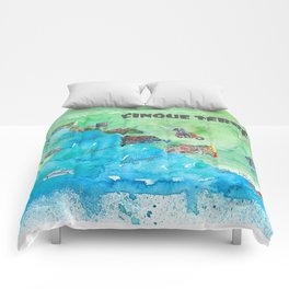 Cinque 5 Terre Italy Favorite Travel Map with touristic Top Ten Highlights Comforters