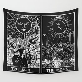 The Sun and Moon Tarot Cards | Obsidian & Pearl Wall Tapestry