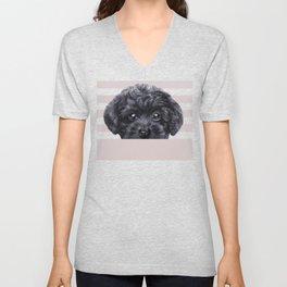 Black toy poodle Dog illustration original painting print Unisex V-Neck