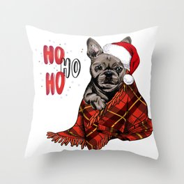 Hand Drawn French Bulldog Portrait in Santa Hat and Snuggled in Plaid Blanket Throw Pillow