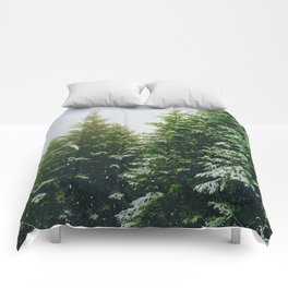 Winter Pine Tree Forest (Color) Comforters