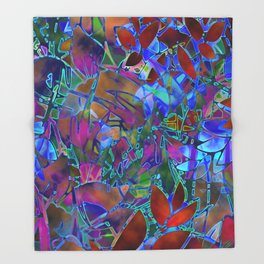 Floral Abstract Stained Glass G174 Throw Blanket