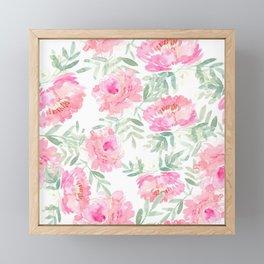Watercolor Peonie with greenery Framed Mini Art Print