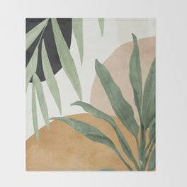 Abstract Art Tropical Leaves 4 Throw Blanket