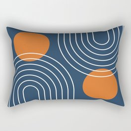 Mid Century Modern Geometric 83 in Navy Blue and Burnt Orange (Rainbow and Sun Abstraction) Rectangular Pillow