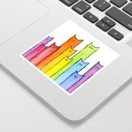 Cat Rainbow Watercolor Pattern Sticker