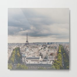 the Eiffel Tower in Paris on a stormy day. Metal Print