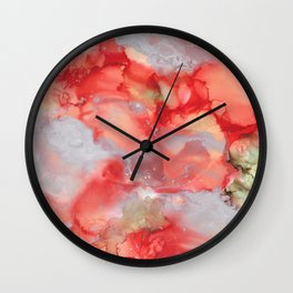 Alcohol Ink 'Big Red' Wall Clock