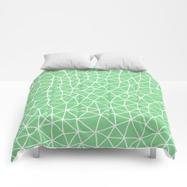 Connectivity - White on Mint Green Comforters