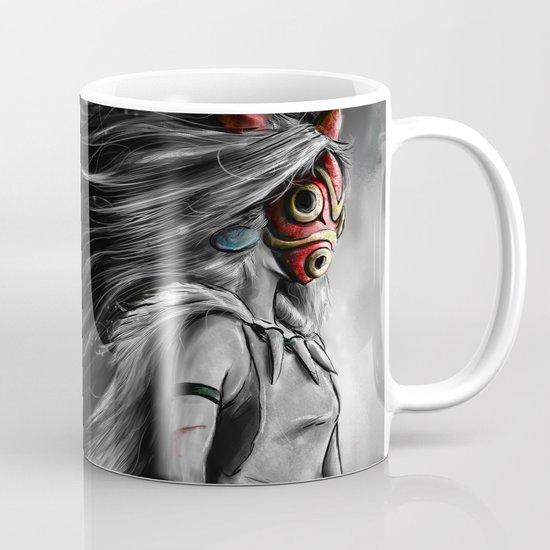 Miyazaki's Mononoke Hime Digital Painting the Wolf Princess Warrior Color Variation Mug