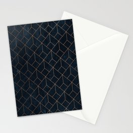 Gold Art deco on Navy ink Stationery Cards