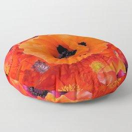 DECORATIVE ORANGE POPPY FLOWERS COMPOSITION Floor Pillow