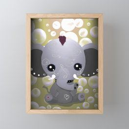 Punky Pachyderm - Peach Framed Mini Art Print