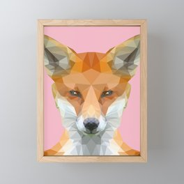 Low poly fox on pink background Framed Mini Art Print