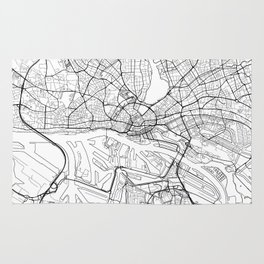 Hamburg Map White Rug