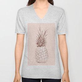Rose Gold Pineapple on Blush Pink Unisex V-Neck