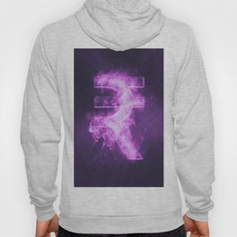 Indian Rupee sign, Indian Rupee symbol. Monetary currency symbol. Abstract night sky background. Hoody