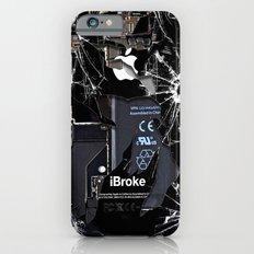 Broken, rupture, damaged, cracked black apple iPhone 4 5 5s 5c, ipad, pillow case and tshirt Slim Case iPhone 6