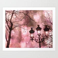 Paris Holiday Sparkling Lanterns Art Print
