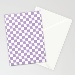 Lavender Checkerboard Pattern Stationery Cards