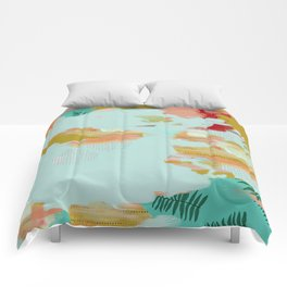 Seafoam Fern Collage Comforters
