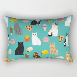 Cat breeds junk foods ice cream pizza tacos donuts purritos feline fans gifts Rectangular Pillow