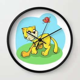 Funny Cat and Red Sparrow Wall Clock