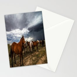 Pride - Horse Watches Over Herd as Storm Approaches Stationery Cards