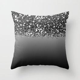 Black & Gunmetal Gray Silver Glitter Ombre Throw Pillow