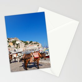 Mules are the only means of transportation in Hydra island, Greece Stationery Cards