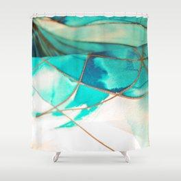 Teal on Silk Shower Curtain