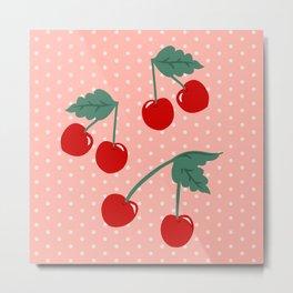 Cherry Kitsch on Pink Metal Print