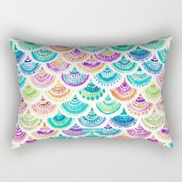 RAINBOW MERMACITA Colorful Mermaid Scales Rectangular Pillow