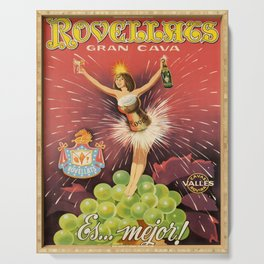 retro poster rovellats champagne gran cava es Serving Tray