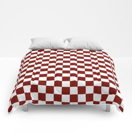 Vintage New England Shaker Barn Red and White Milk Paint Jumbo Square Checker Pattern Comforters