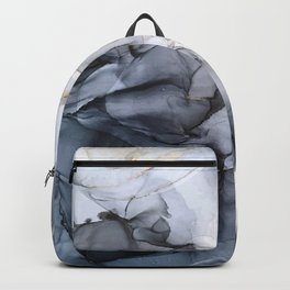 Calm but Dramatic Light Monochromatic Black & Grey Abstract Backpack