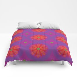 Magenta pattern with geometric flowers Comforters