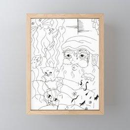 Birth of the Cat - Black & White Framed Mini Art Print
