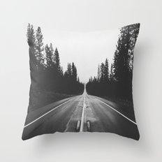 Grey road Throw Pillow