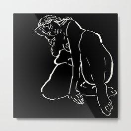 Female nude on black background Metal Print