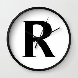 R MONOGRAM (BLACK & WHITE) Wall Clock