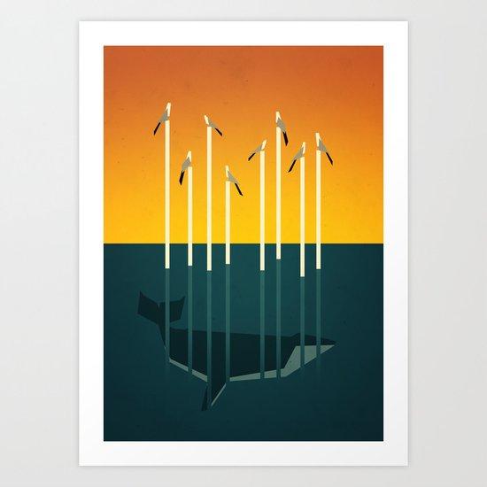Seagulls and a whale Art Print