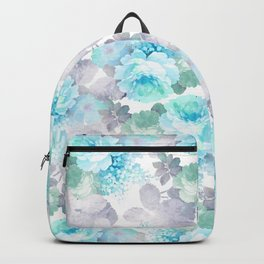 Modern teal gray chic romantic roses flowers Backpack