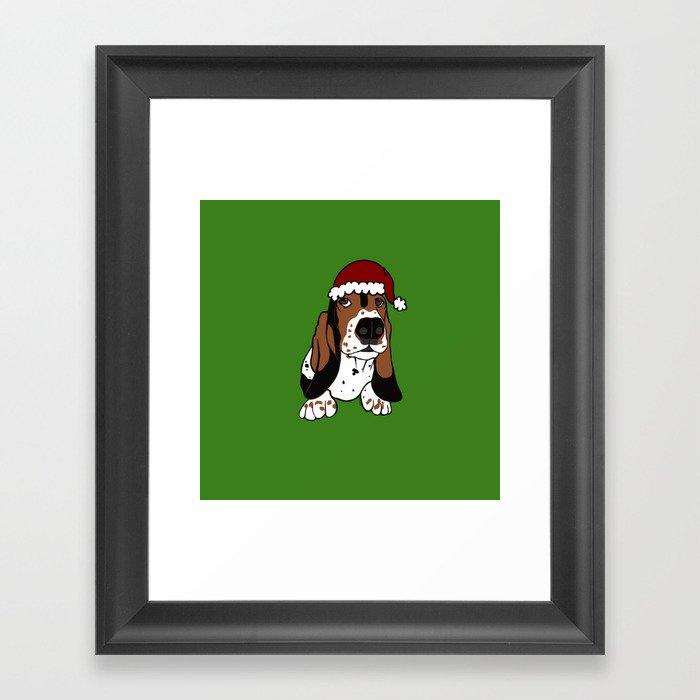 A Basset Full of Christmas Framed Art Print