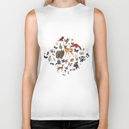 Wild Woodland Animals Biker Tank